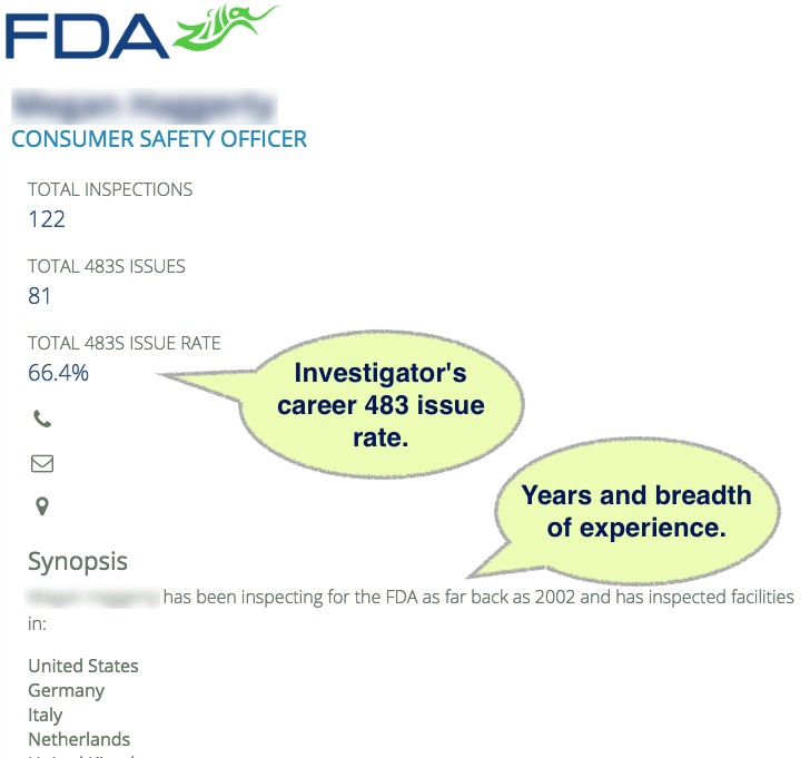 James Marsh FDA InspectorProfile Overview Example